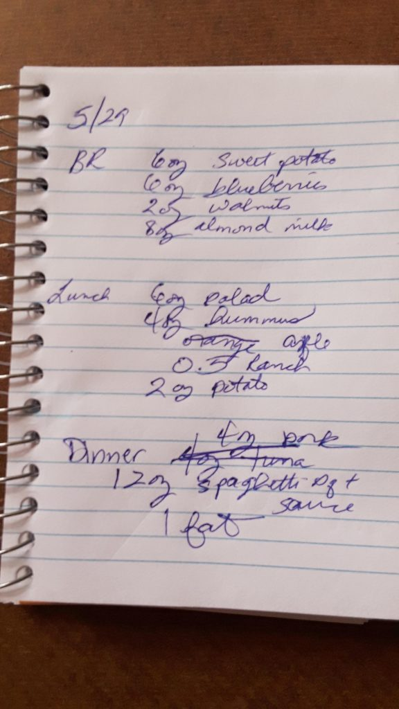 Today's Bright Line Eating Plan Log